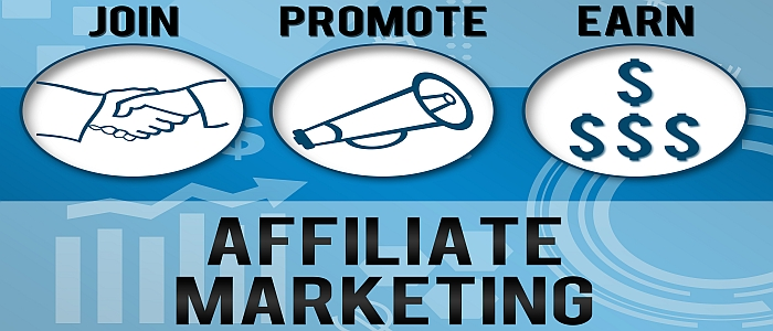 Affiliate Marketing conceptual image with various element and blue background.